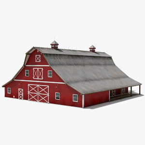 3D barn stable building interior