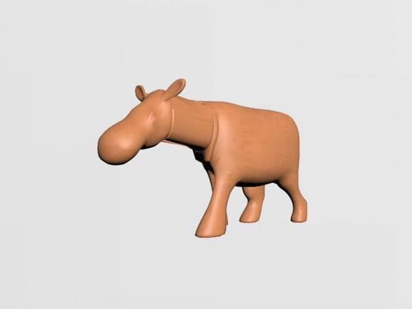 3D statue hippopotamus model