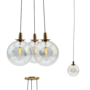 3D gambit 3-light chandelier lamps model