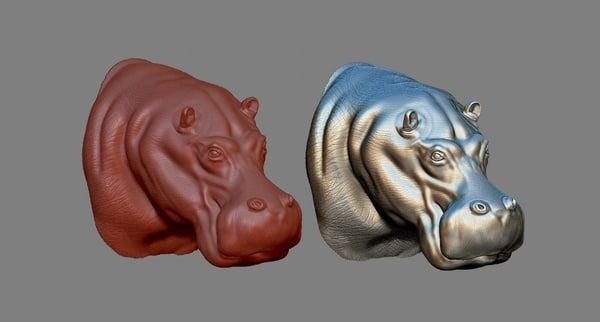 3D hippopotamus head print hippo