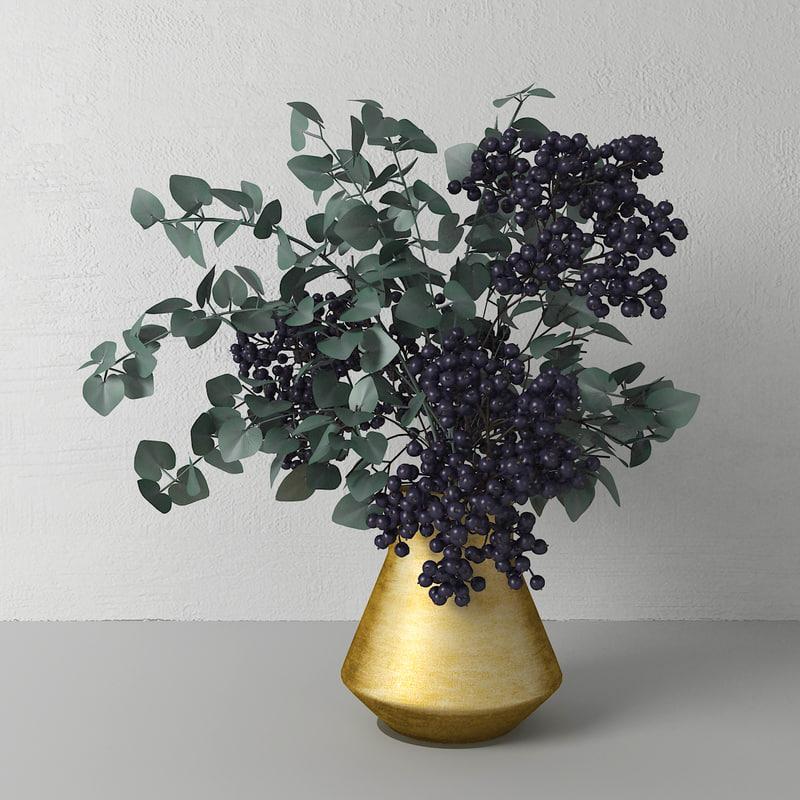 3D bouquet elderberry model