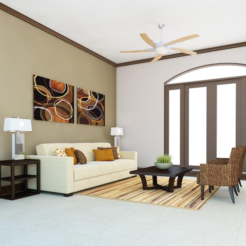 3D def classic living room