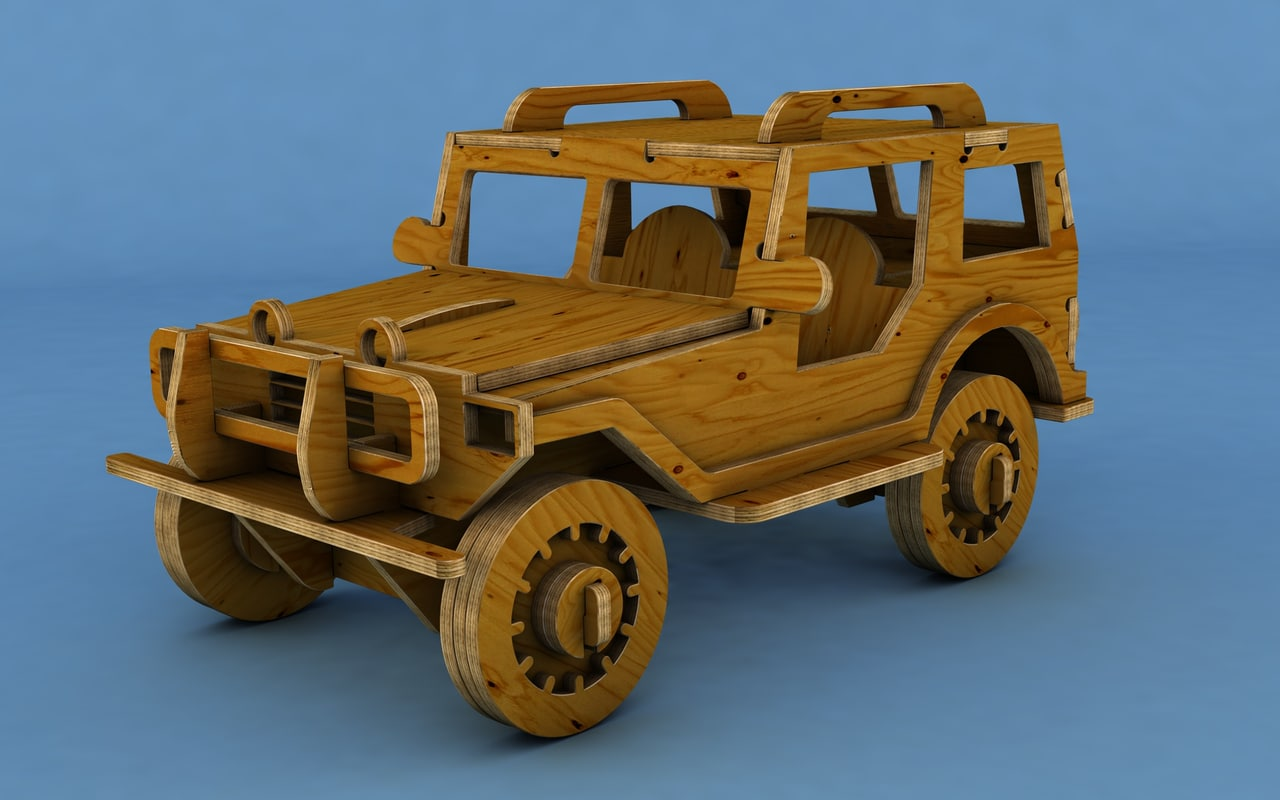 wooden off-road car 3D