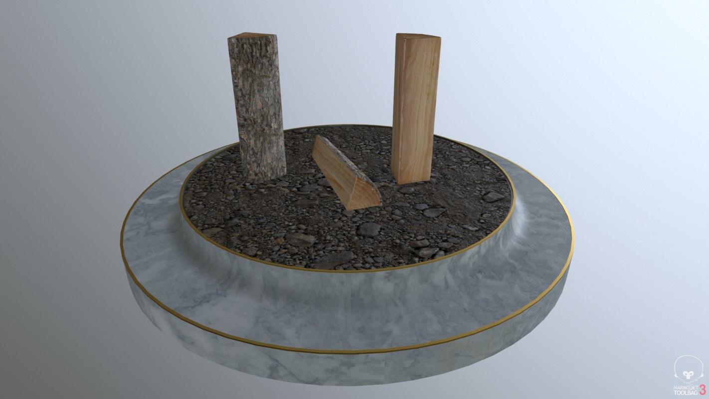 3D logs campfire burning model