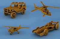 3D model laser-cut toys wooden