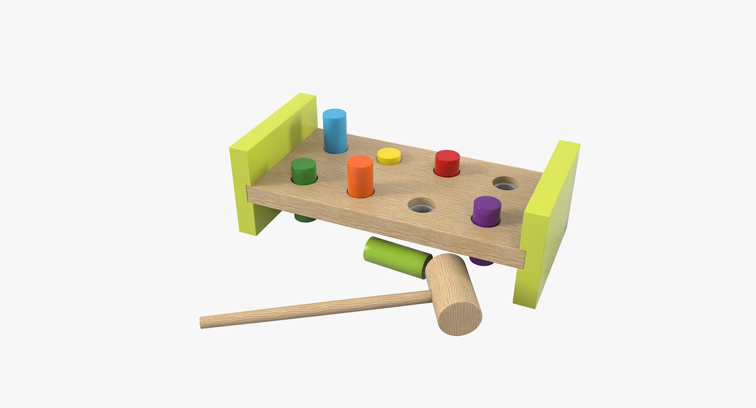 3D wooden toy model