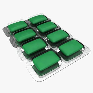 chewing gum green 3D