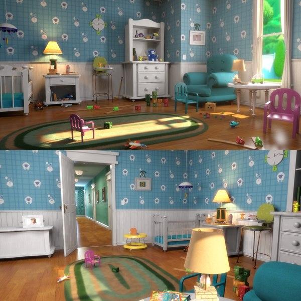 3D model cartoon bedroom corridor