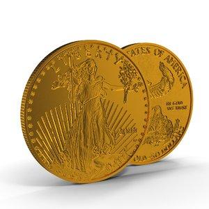 gold eagle 50 dollars 3D model