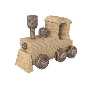toy wooden train 3D