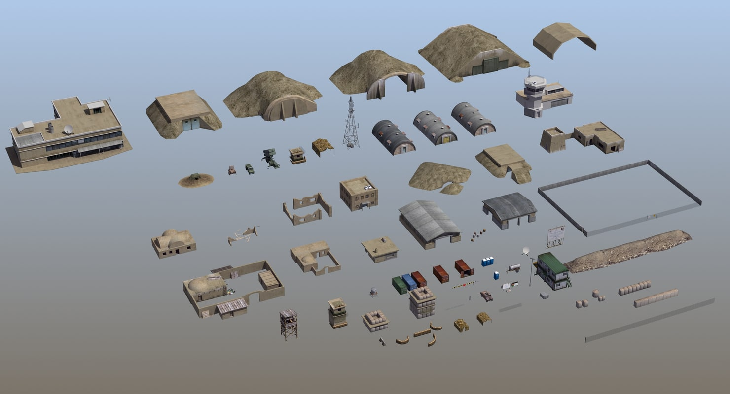 military infrastructure set02 3D model