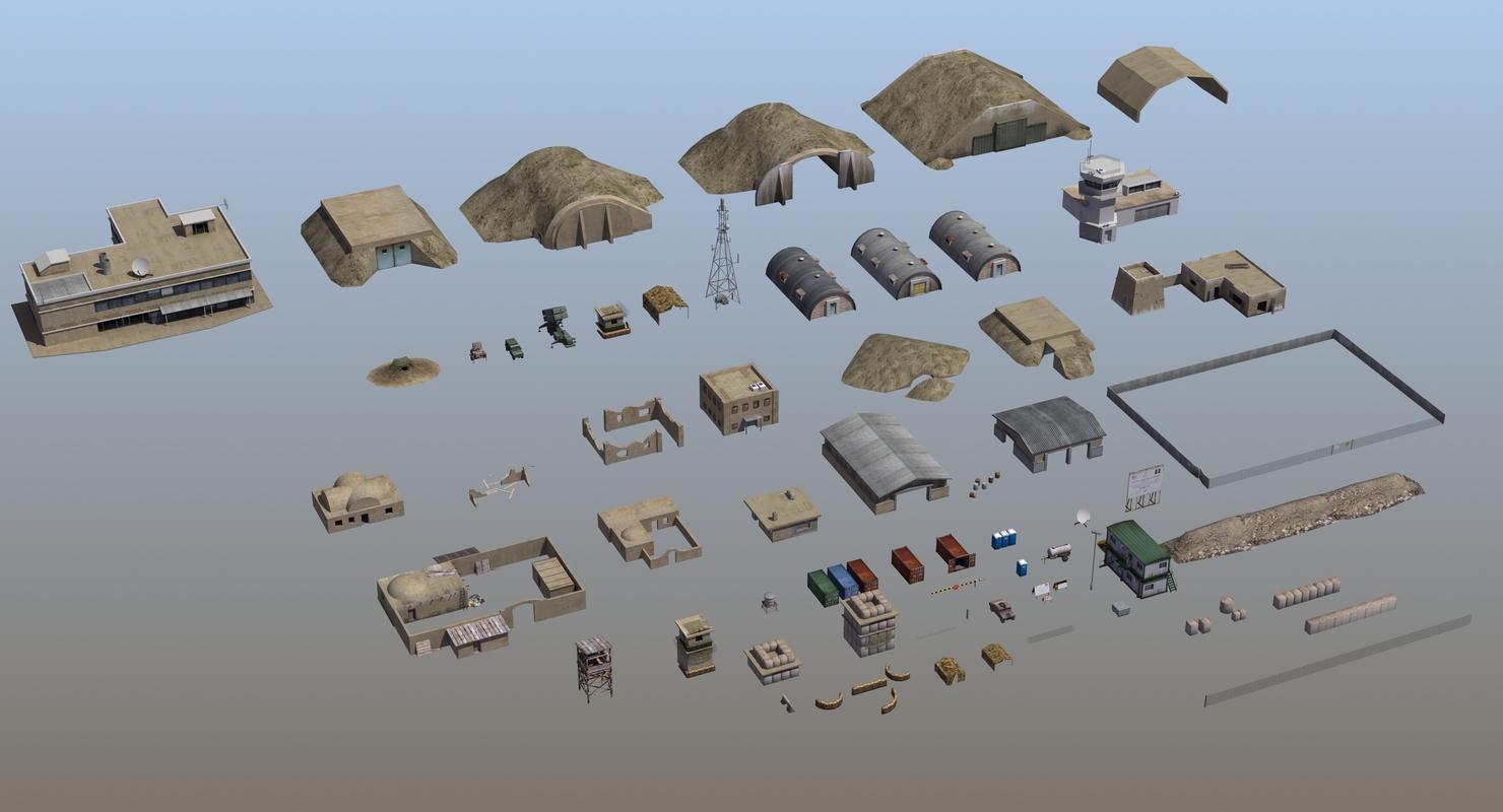 military infrastructure set02 3D model