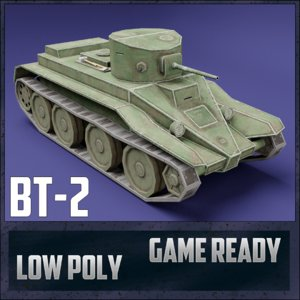 bt-2 tank ussr toon 3D model