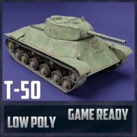 3D t-50 tank ussr toon model