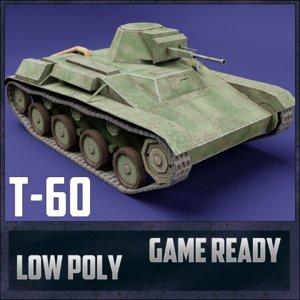 3D t-60 tank ussr toon