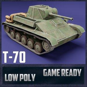 t-70 tank ussr toon 3D