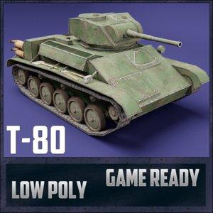 3D model t-80 tank ussr toon