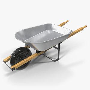 3D easiload galvanised wheelbarrow model
