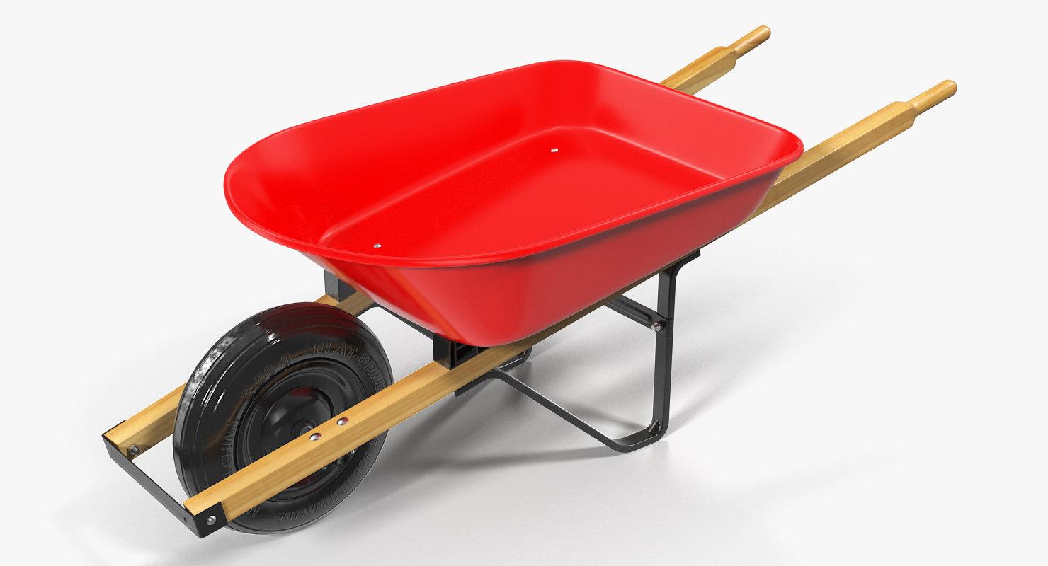 3D model garden tool wheelbarrow red