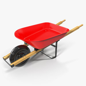 3D model garden tool wheelbarrow red