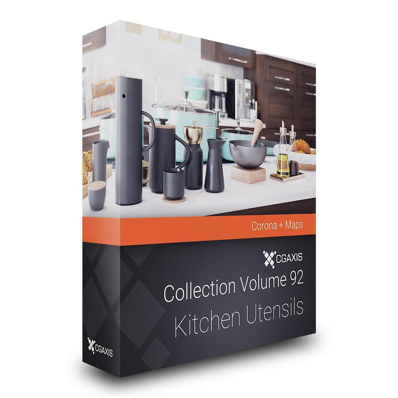 kitchen utensils corona 3D