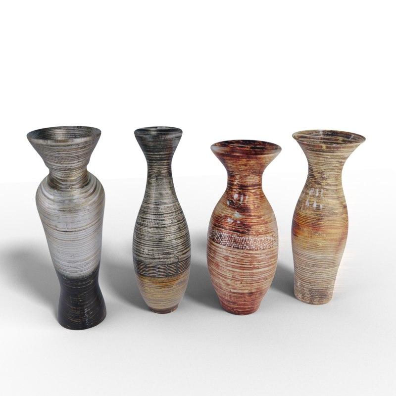 3D 4 vases model