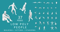 Low Poly People (walking, running,sitting, standing)