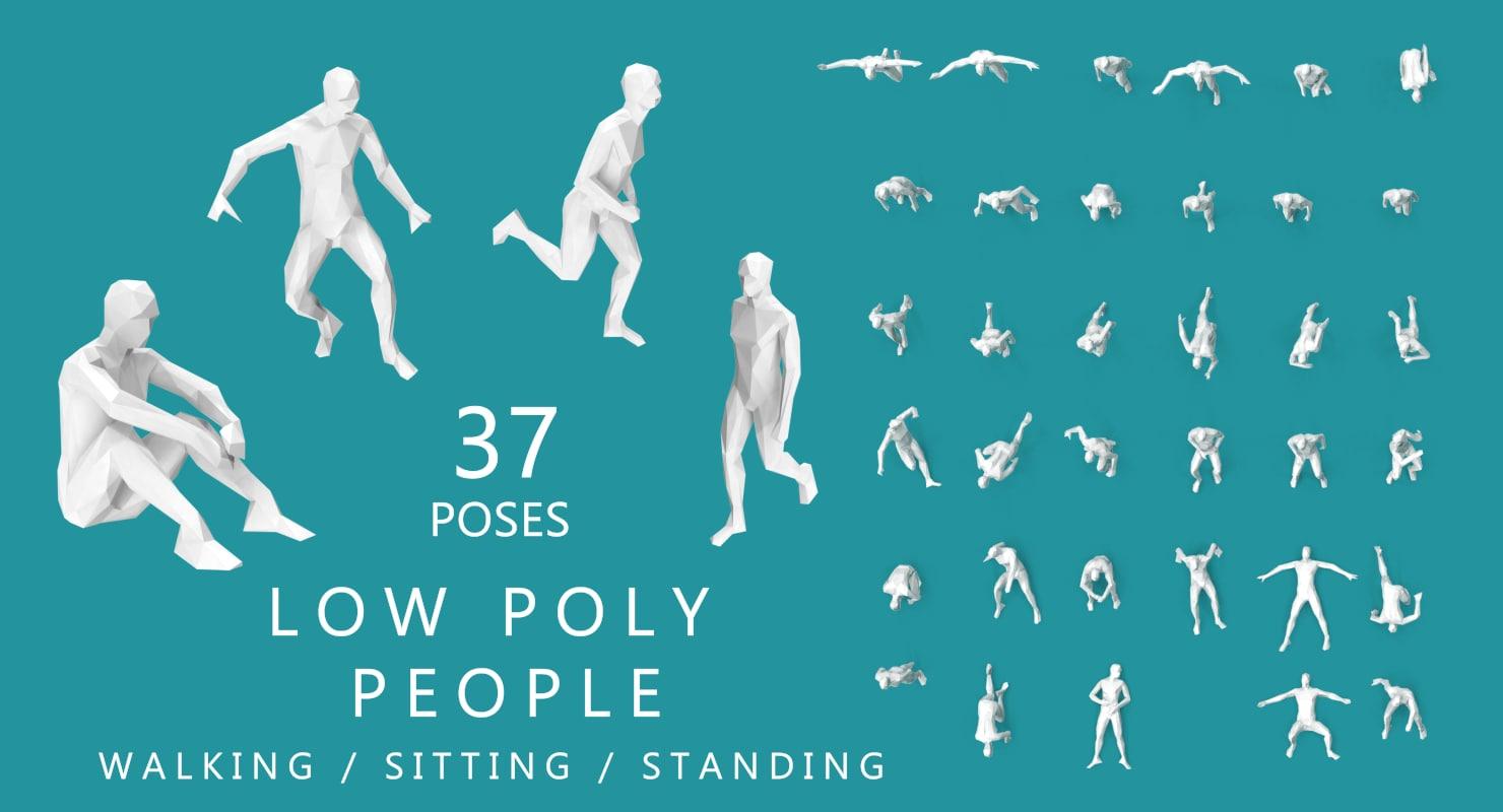 poses walking sitting running 3D