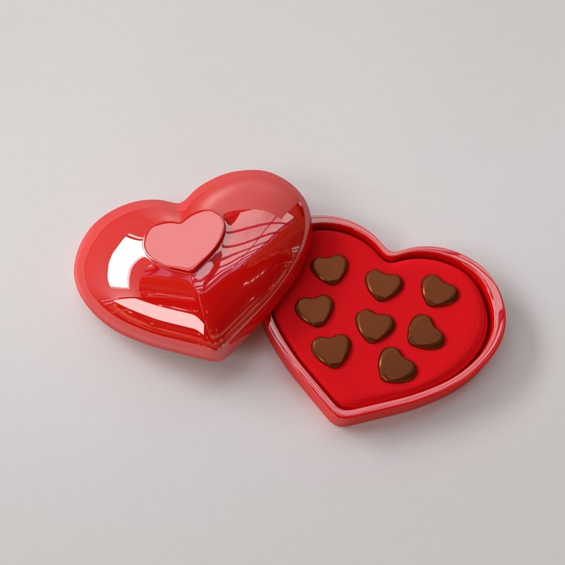3D model heart chocolate box
