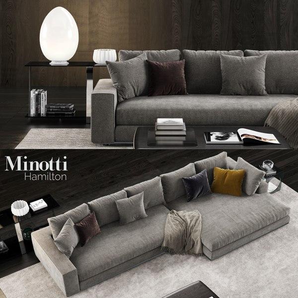 minotti hamilton sofa 2 3D model