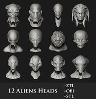3D humanoid aliens heads 12