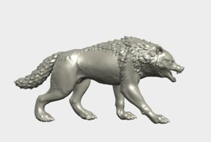 3D wolf figurine model