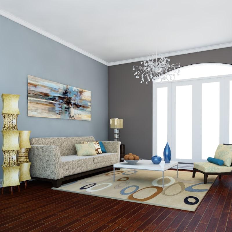 def classic living room model