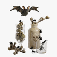 set decorative halloween fun 3D model