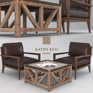 leather armchair coffee table 3D model