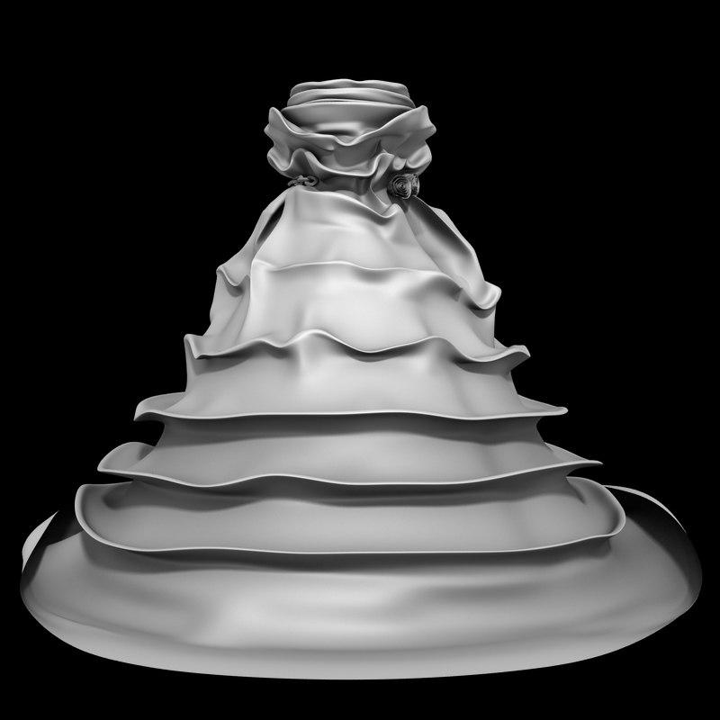 3D pleated wedding dress model