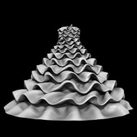 3D pleated ruffle wedding dress