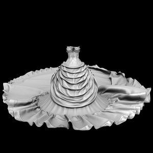 3D model royal wedding dress