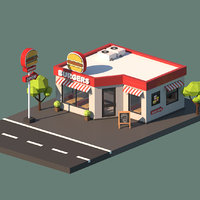 Cartoon Low Poly Fast Food Building
