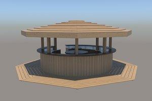 wooden beach bar 3D model
