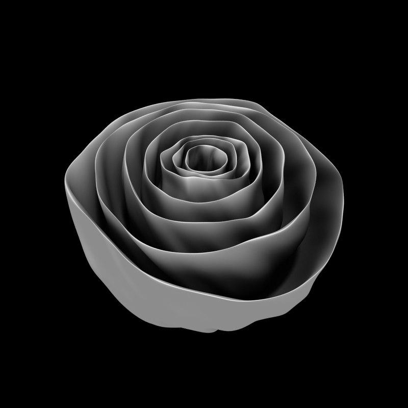 3D fabric rose flower model