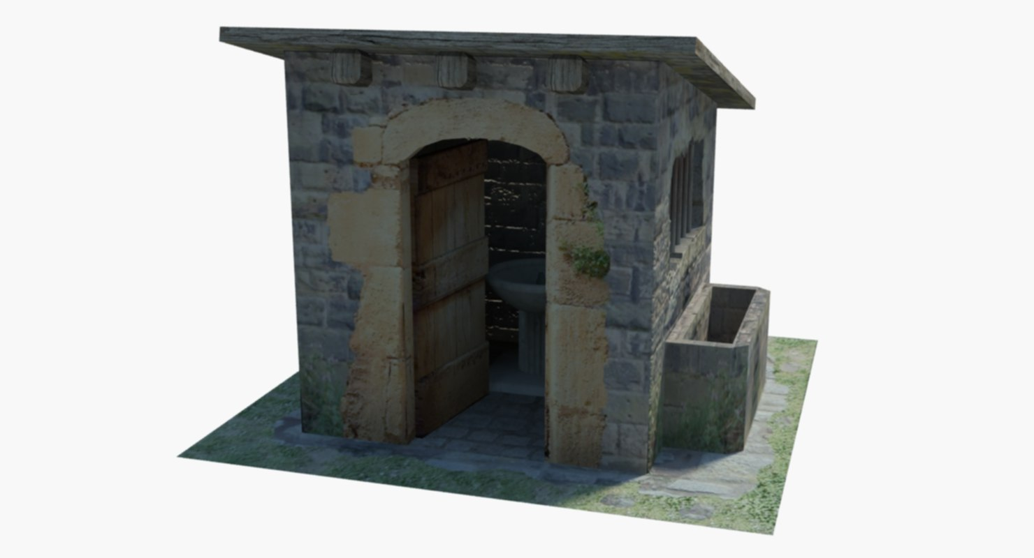 3D model ancient fountain house
