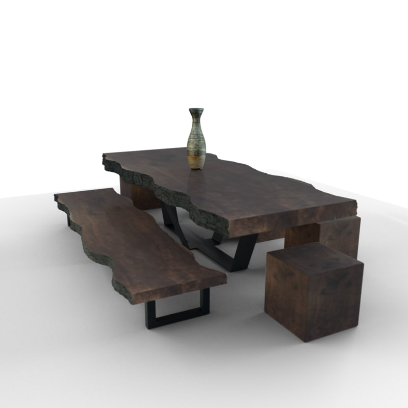 3D rustic wooden table live model