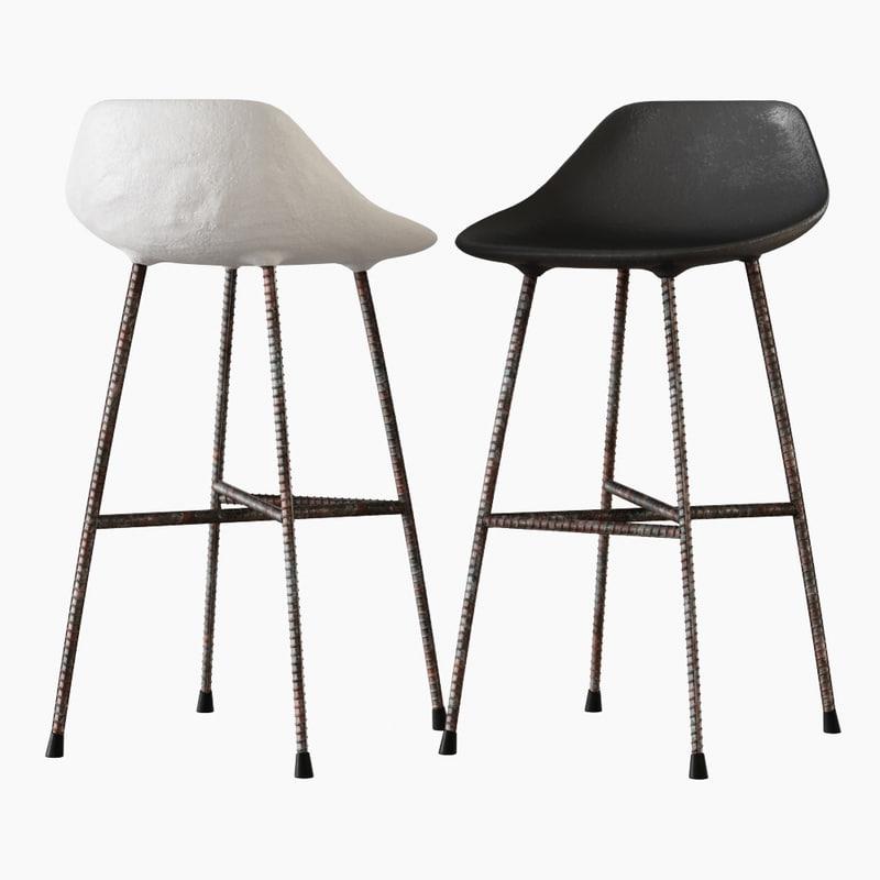 3D concrete hauteville counter chair