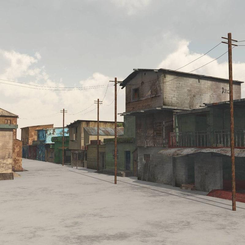 3D street buildings town vue