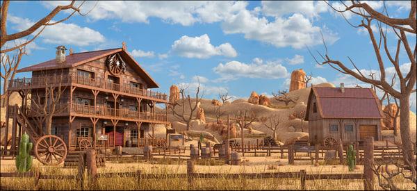 3D western ranch landscape model