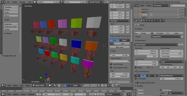 3D 18 boats animation sea model