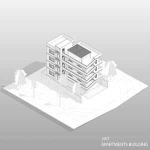 3D revit apartments building