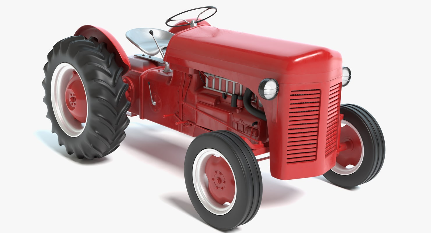 red tractor 3D model