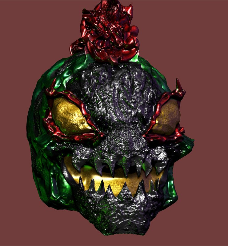 3D head alien monster